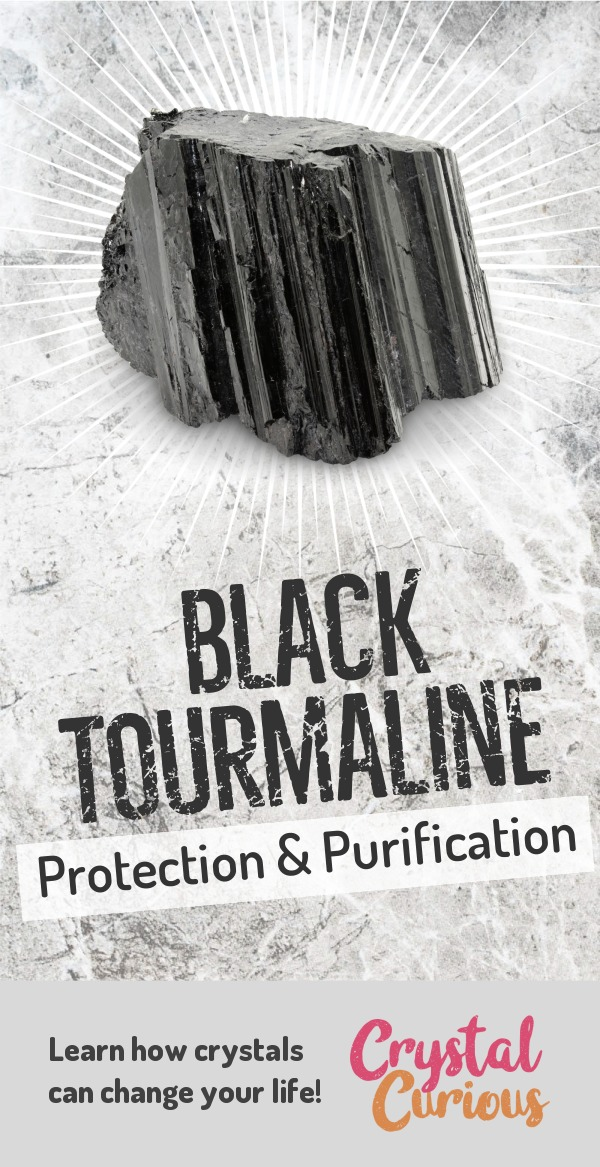 Black Tourmaline Meaning & Healing Properties. Black Tourmaline is one of the most popular stones among crystal healers for its strong protective & purifying qualities. Learn  all the crystal & gemstone properties and crystal healing for beginners at CrystalCurious.com. Chakra healing with stones, positive energy & vibrations, crystal meanings, crystal therapy. #crystalhealing #crystals #gemstones #energymedicine #energyhealing #newage #crystalcurious