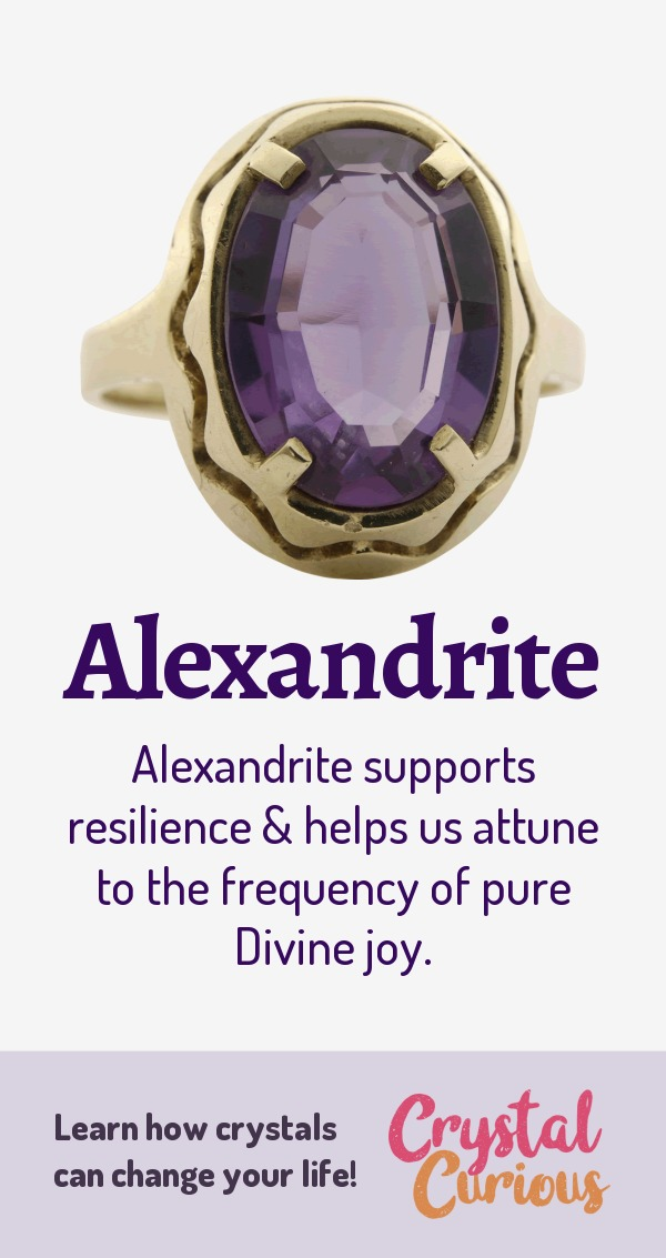 Alexandrite Meaning & Healing Properties. Alexandrite supports resilience & helps us attune to the frequency of pure Divine joy. Learn  about healing crystals for beginners and gemstones properties at CrystalCurious.com. Energy healing, chakra stones, positive energy & vibrations, crystal therapy, crystal meanings. #crystalhealing #crystals #gemstones #energymedicine #energyhealing #newage #crystalcurious