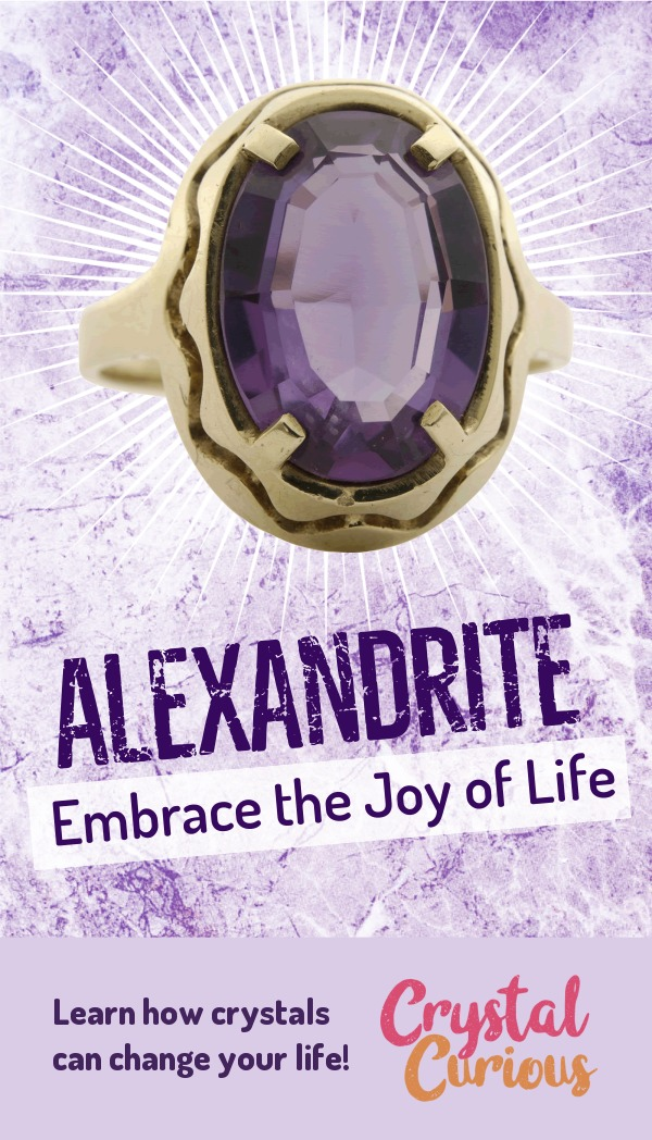 Alexandrite Meaning & Healing Properties. Alexandrite supports resilience & helps us attune to the frequency of pure Divine joy. Learn  crystal healing for beginners & all the gemstones properties at CrystalCurious.com. Explore new age spirituality and learn crystal therapy and chakra healing. #crystalhealing #crystals #gemstones #energymedicine #energyhealing #newage #crystalcurious