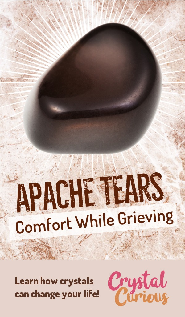 Apache Tears Meaning & Healing Properties. Apache Tears are comforting & grounding as you heal from grief and trauma. Learn  about healing crystals for beginners and gemstones properties at CrystalCurious.com. Create positive energy and learn new age healing techniques with crystal therapy. #crystalhealing #crystals #gemstones #energymedicine #energyhealing #newage #crystalcurious