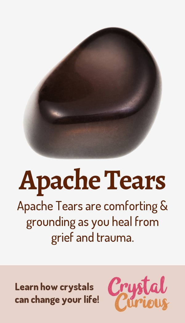 Apache Tears Meaning & Healing Properties. Apache Tears are comforting & grounding as you heal from grief and trauma. Learn  all the crystal & gemstone properties and crystal healing for beginners at CrystalCurious.com. Explore new age spirituality and learn crystal therapy and chakra healing. #crystalhealing #crystals #gemstones #energymedicine #energyhealing #newage #crystalcurious