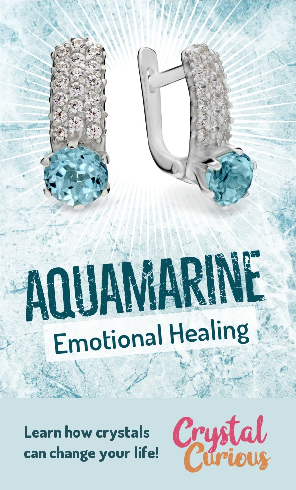 Aquamarine Meaning & Healing Properties. Aquamarine helps you let go of old baggage, be it trauma, grief, grudges or clutter, and get back in the flow of life. Learn  all the crystal & gemstone properties and crystal healing for beginners at CrystalCurious.com. Energy healing, chakra stones, positive energy & vibrations, crystal therapy, crystal meanings. #newage #crystalhealing #positiveenergy #crystals #gemstones #energyhealing #crystalcurious