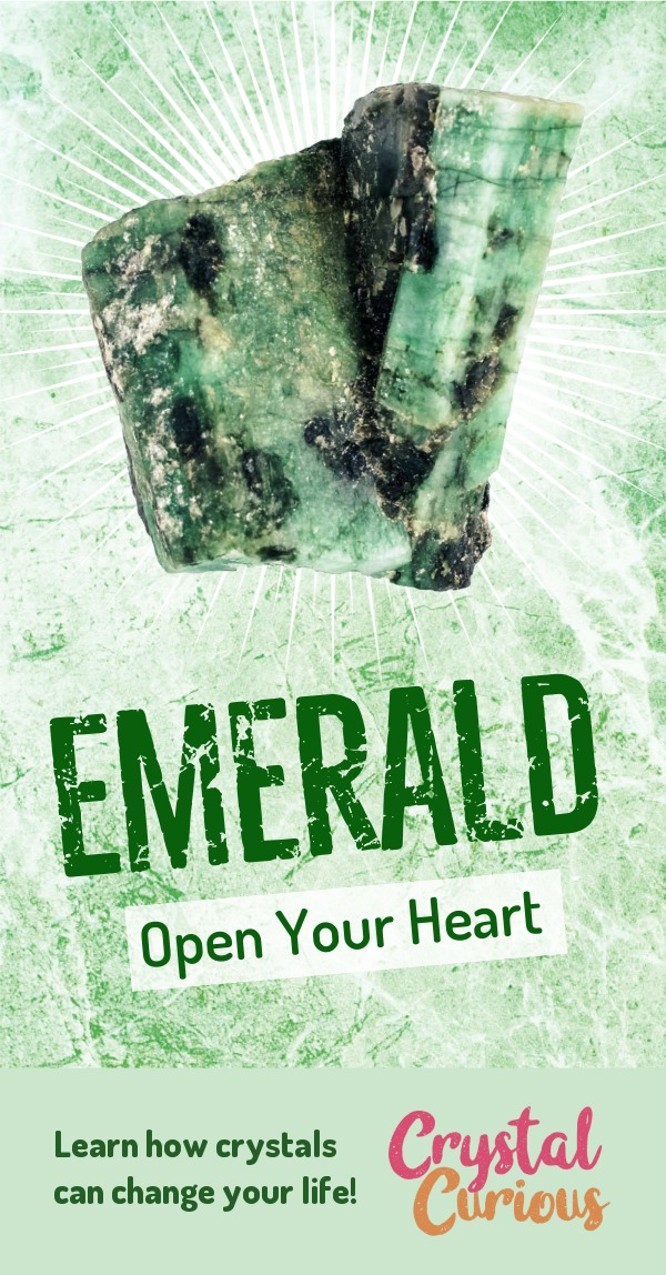 Emerald Meaning & Healing Properties. Emerald heals and activates the heart chakra, bringing love, compassion, acceptance, and the courage to follow your heart's path. Learn  crystal healing for beginners & all the gemstones properties at CrystalCurious.com. Chakra healing with stones, positive energy & vibrations, crystal meanings, crystal therapy. #crystalhealing #crystals #gemstones #energymedicine #energyhealing #newage #crystalcurious