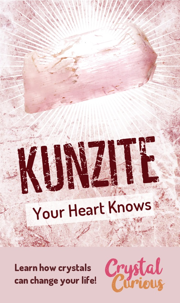 Kunzite Meaning & Healing Properties. Kunzite restores and strengthens your heart's connection with Divine Love. Learn  about healing crystals for beginners and gemstones properties at CrystalCurious.com. Create positive energy and learn new age healing techniques with crystal therapy. #crystalhealing #crystals #gemstones #energymedicine #energyhealing #newage #crystalcurious