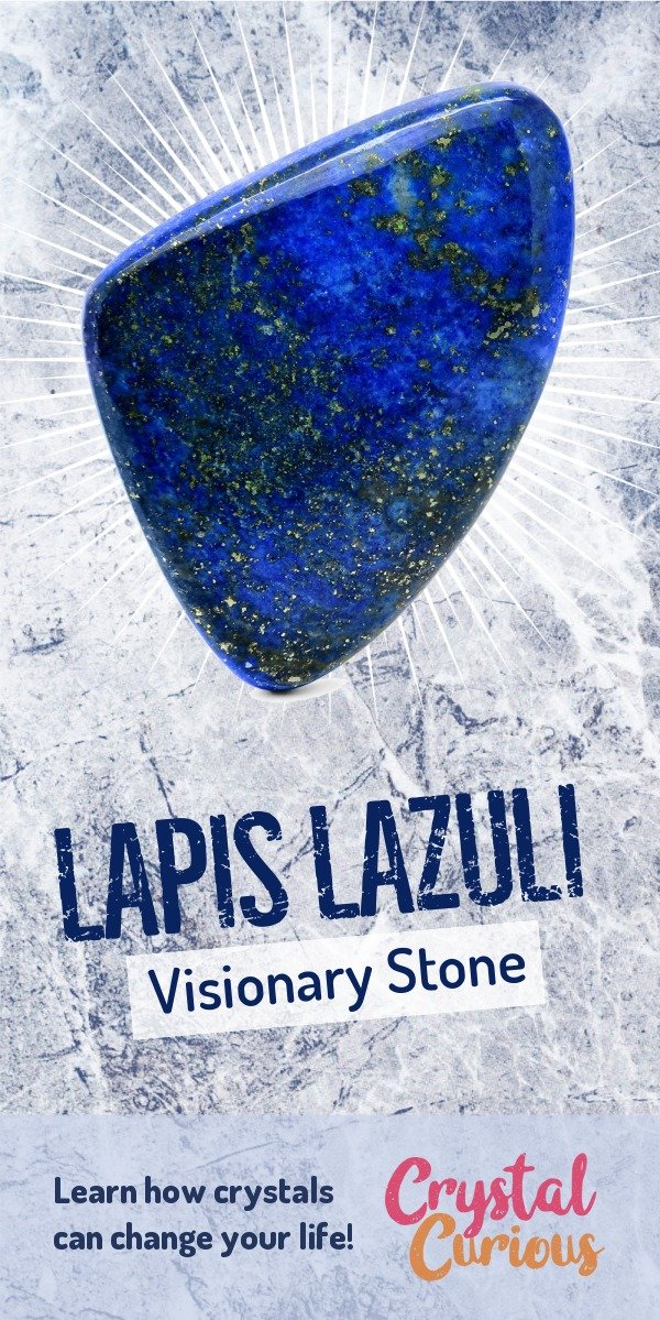Lapis Lazuli Meaning & Healing Properties. Lapis Lazuli acts as a gateway to information and inspiration from other realms, helping you find deeper truth and access visionary awareness. Learn  about healing crystals for beginners and gemstones properties at CrystalCurious.com. Positive energy, chakra healing, vibrational energy, stone meanings, crystal therapy. #crystalhealing #crystals #gemstones #energymedicine #energyhealing #newage #crystalcurious