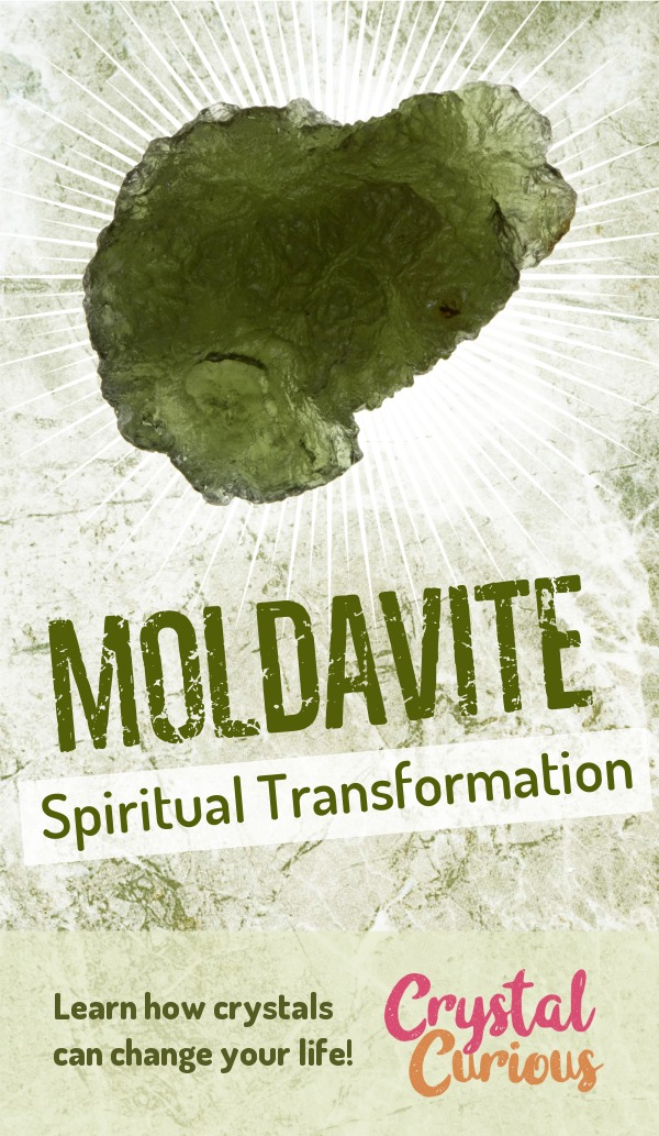 Moldavite Meaning & Healing Properties. Moldavite is a mossy green tektite formed from a meteorite impact. It is prized in spiritual circles as an accelerant of personal & spiritual evolution. Learn  about healing crystals for beginners and gemstones properties at CrystalCurious.com. Explore new age spirituality and learn crystal therapy and chakra healing. #crystals #crystalhealing #newage  #positiveenergy  #gemstones #energyhealing  #crystalcurious