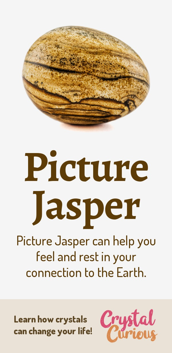 Picture Jasper Meaning & Healing Properties. Picture Jasper can help you feel and rest in your connection to the Earth. Learn  all the crystal & gemstone properties and crystal healing for beginners at CrystalCurious.com. Explore new age spirituality and learn crystal therapy and chakra healing. #crystals #crystalhealing #newage  #positiveenergy  #gemstones #energyhealing  #crystalcurious