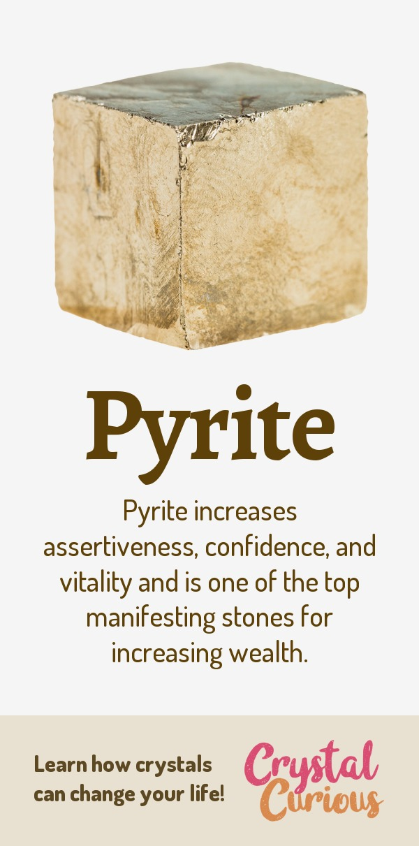 Pyrite Meaning & Healing Properties. Pyrite increases assertiveness, confidence, and vitality and is one of the top manifesting stones for increasing wealth. Learn  all the crystal & gemstone properties and crystal healing for beginners at CrystalCurious.com. Explore new age spirituality and learn crystal therapy and chakra healing. #crystalhealing #crystals #gemstones #energymedicine #energyhealing #newage #crystalcurious