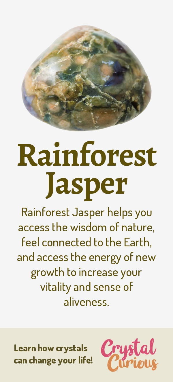 Rainforest Jasper Meaning & Healing Properties. Rainforest Jasper helps you access the wisdom of nature, feel connected to the Earth, and access the energy of new growth to increase your vitality and sense of aliveness. Learn  about healing crystals for beginners and gemstones properties at CrystalCurious.com. Positive energy, chakra healing, vibrational energy, stone meanings, crystal therapy. #crystalhealing #crystals #gemstones #energymedicine #energyhealing #newage #crystalcurious
