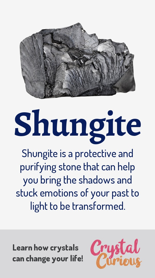 Shungite Meaning & Healing Properties. Shungite is a protective and purifying stone that can help you bring the shadows and stuck emotions of your past to light to be transformed. Learn  all the crystal & gemstone properties and crystal healing for beginners at CrystalCurious.com. Chakra healing with crystals, vibrational positive energy, stone meanings, crystal therapy. #newage #crystalhealing #positiveenergy #crystals #gemstones #energyhealing #crystalcurious