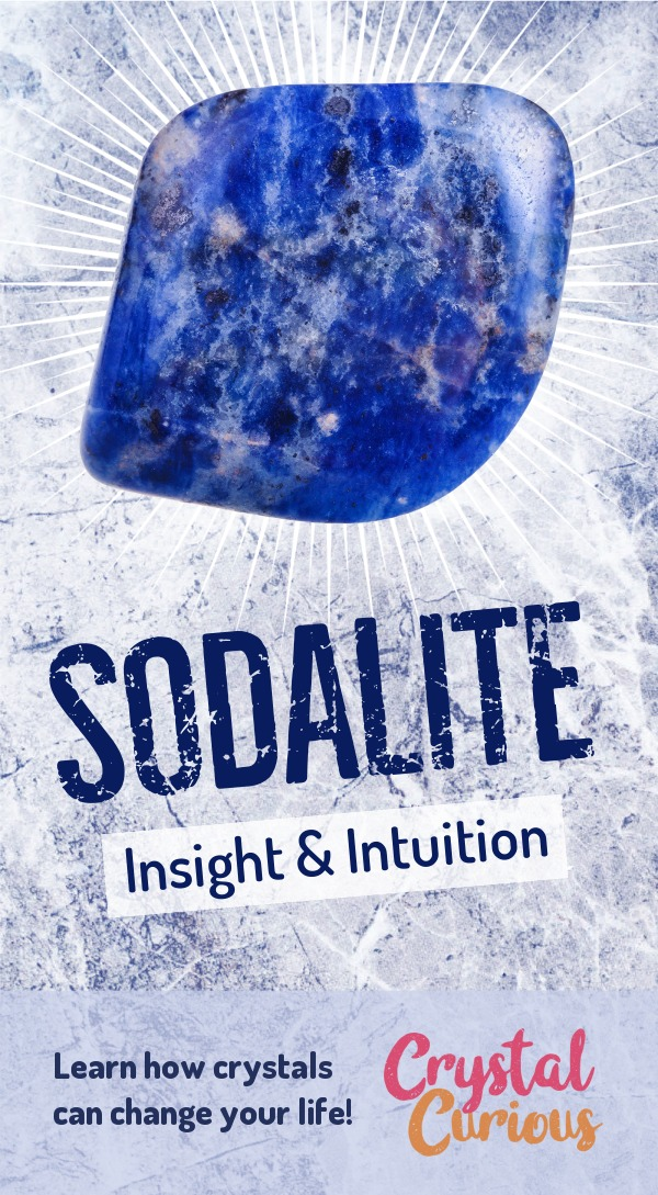Sodalite Meaning & Healing Properties. Sodalite is a stone of mental and intuitive awareness. It enhances creativity, analysis, insight & mindfulness. Learn  crystal healing for beginners & all the gemstones properties at CrystalCurious.com. Chakra healing with stones, positive energy & vibrations, crystal meanings, crystal therapy. #crystalhealing #crystals #gemstones #energymedicine #energyhealing #newage #crystalcurious