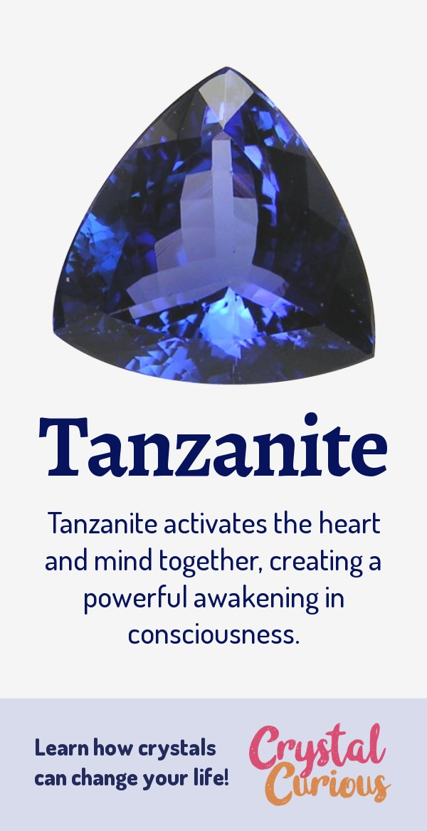 Tanzanite Meaning & Healing Properties. Tanzanite activates the heart and mind together, creating a powerful awakening in consciousness. Learn  crystal healing for beginners & all the gemstones properties at CrystalCurious.com. Find your energy muse & crystal companion for healing & positive energy. #crystalhealing #crystals #gemstones #energymedicine #energyhealing #newage #crystalcurious