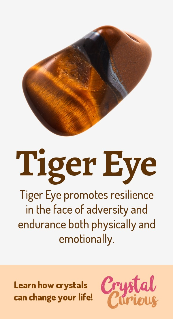 Tiger Eye Meaning & Healing Properties. Tiger Eye promotes resilience in the face of adversity and endurance both physically and emotionally. Learn  crystal healing for beginners & all the gemstones properties at CrystalCurious.com. Energy healing, chakra stones, positive energy & vibrations, crystal therapy, crystal meanings. #crystalhealing #crystals #gemstones #energymedicine #energyhealing #newage #crystalcurious